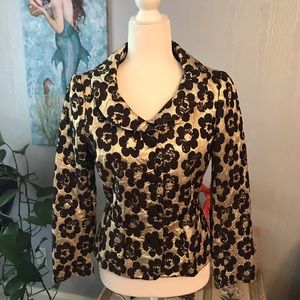 Moschino Gilt Crinkle Textured Floral Jacket
